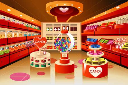 식료품 가게에서 사탕 섹션의 그림