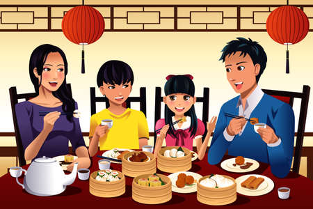 family eating: illustration of Chinese family eating dim sum at a Chinese restaurant