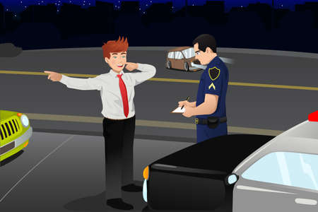 dui: illustration of police conducting a DUI test for a drunk driver