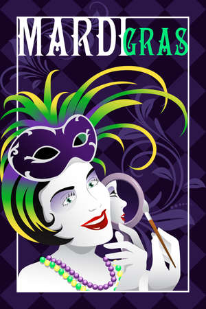 illustration of mardi gras poster with copyspace Ilustrace