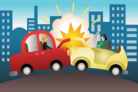 cartoon accident: illustration of car accident in the city