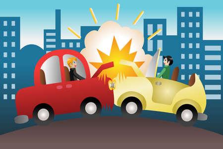 cliparts: illustrazione di incidente d'auto in citt� Vettoriali