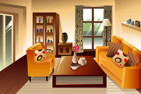 interior drawing: illustration of modern living room space