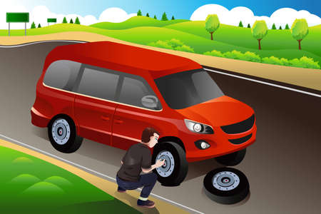 flat tyre: illustration of man changing flat tire on the side of the road Illustration
