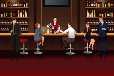 persone che parlano: Illustrazione di uomini d'affari appendere fuori in un bar dopo il lavoro Vettoriali