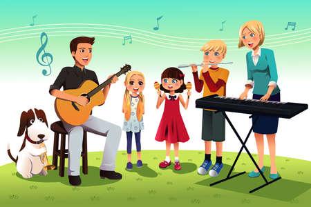 perro familia: Ilustración de la familia feliz tocando música juntos