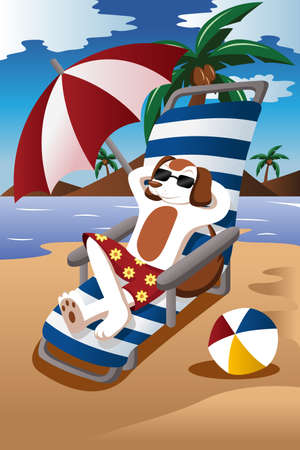 illustration of dog wearing sunglasses relaxing on the chair at the beach