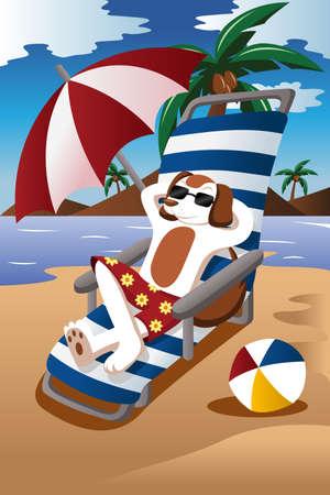 illustrazione del cane di indossare occhiali da sole rilassante sulla sedia in spiaggia Vettoriali