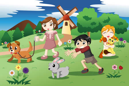 illustration of cute kids playing with their pets in the garden Illustration