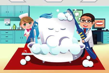 modern office: illustration of dentist brushing a tooth for dental hygiene concept  Illustration