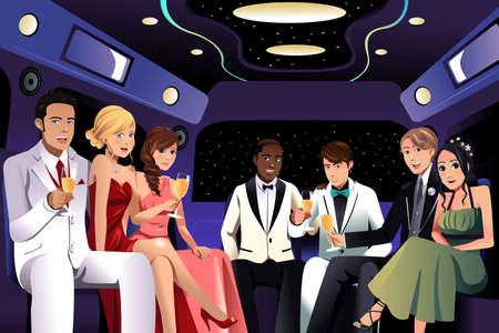 amigo: Una ilustración vectorial de adolescentes va a una fiesta de graduación en una limusina