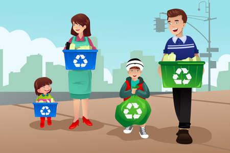 niños reciclando: Un vector de reciclaje familia unida Vectores