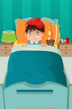 ベッド上安静時病気の男の子のベクトル イラスト
