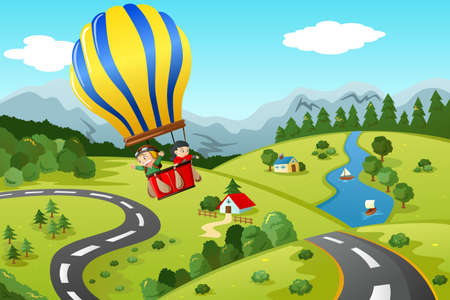 A vector illustration of cute kids riding a hot air balloon