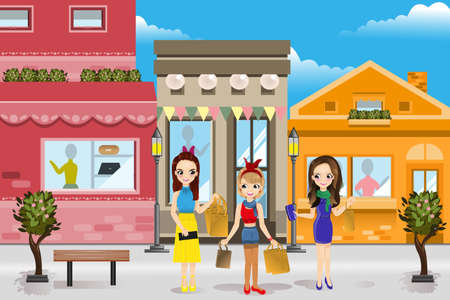 A vector illustration of modern women shopping in a mall Vector