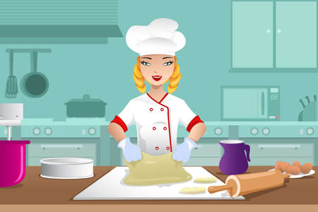 A vector illustration of baker making dough in the kitchen  Çizim