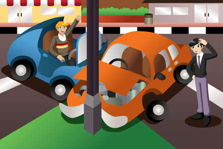 A vector illustration of car accident in the city