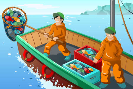 A vector illustration of commercial fisherman fishing at the sea