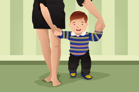 baby and mother: A vector illustration of  mother helping her baby boy learning to walk