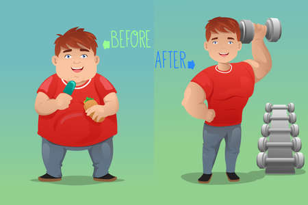 being: A vector  illustration of weight loss concept of a man before and after diet