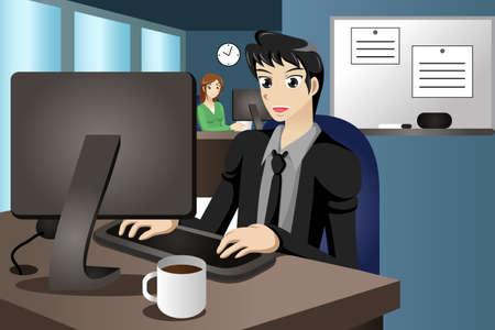 사무실에서 자신의 컴퓨터에서 작업하는 사업가의 벡터 일러스트 레이 션