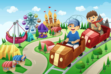 A vector illustration of kids having fun in an amusement park Ilustração