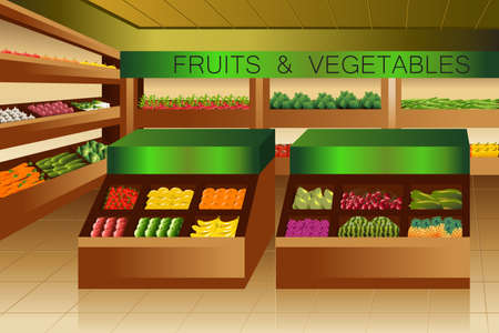 A vector illustration of fruits and vegetables section in grocery store