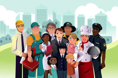 A vector illustration of people with different occupation in a community