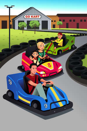 A vector illustration of happy family playing go-kart together Vectores