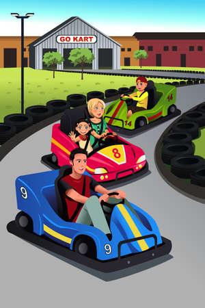 niñas jugando: Una ilustración vectorial de familia feliz jugando de karts juntos