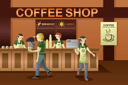 A vector illustration of people working in a coffee shop