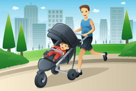 A vector illustration of father jogging while pushing a stroller in the city