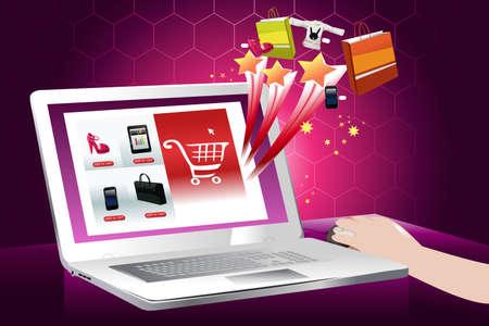 Een vector illustratie van het concept van online winkelen Stock Illustratie