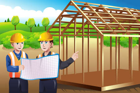 A vector illustration of construction worker discussing blueprint