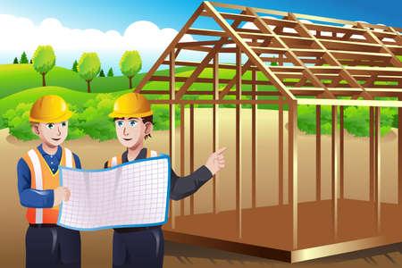 Een vector illustratie van bouwvakker bespreken blauwdruk