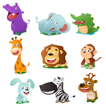 monkey clip: A vector illustration of cute animal icon sets