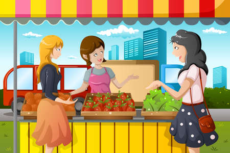 A vector illustration of people shopping in a outdoor farmers market