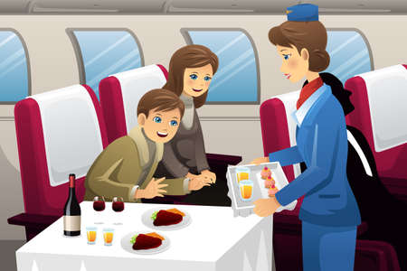 A vector illustration of flight attendant serving a passenger in an airplane Çizim