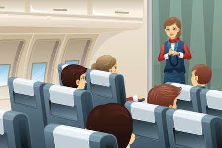to fasten: A vector illustration of flight attendant demonstrate how to fasten the seat belt to passengers