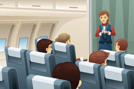 aereo: Una illustrazione vettoriale di assistente di volo dimostrare come allacciare la cintura di sicurezza per i passeggeri Vettoriali