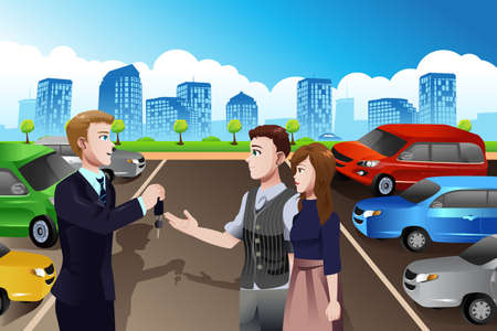 A vector illustration of car salesman giving the key of new car to the customer in the dealership