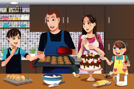 Niños ayudando: Una ilustración del vector de la familia feliz en la cocina Vectores