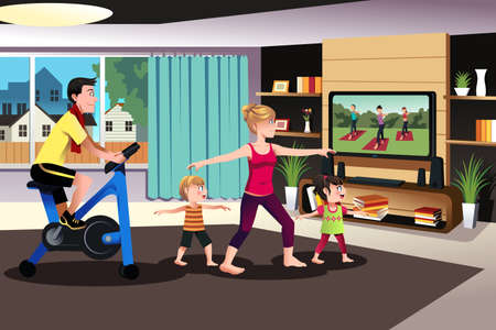 A vector illustration of healthy family exercising together indoor at home