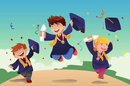 graduacion niños: Una ilustración vectorial de los estudiantes celebran su graduación