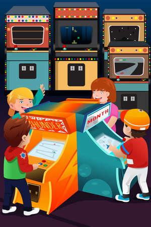 niños jugando videojuegos: Una ilustración vectorial de niños jugando juegos de arcade Vectores