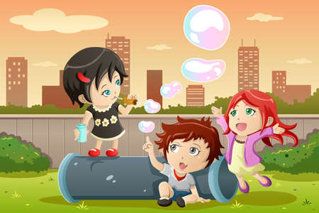 A vector illustration of cute kids playing bubbles in the park