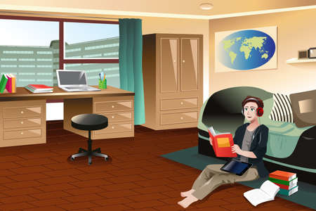 A vector illustration of college student studying while listening to music in a dorm room