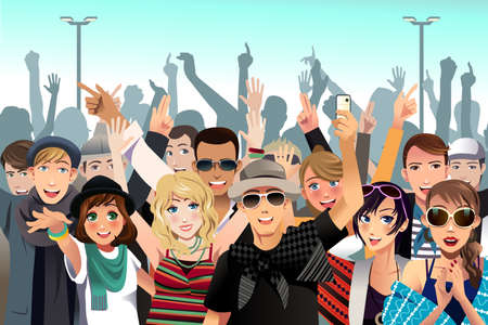 A vector illustration people in a concert Çizim