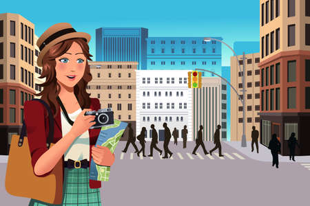 taking picture: A vector illustration of beautiful female tourist  in the summer Illustration