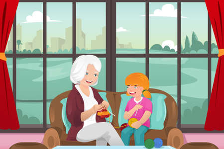 A vector illustration of grandma teaching her granddaughter knitting Çizim